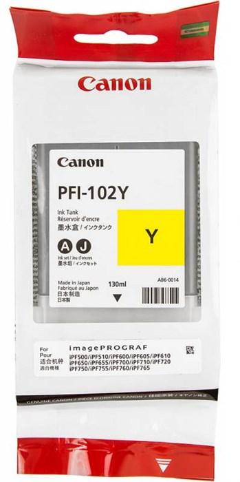Картридж для плоттера Canon IPF500/600/700 PFI-102Y желтый - фото 10167