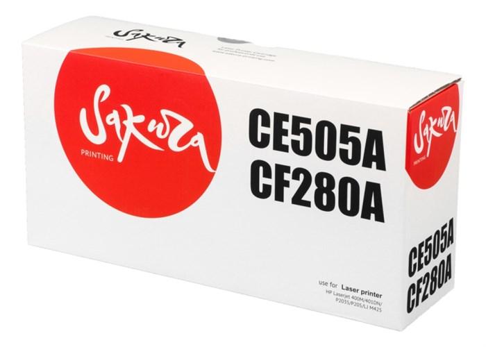Картридж SAKURA CE505A/CF280A для HP Laserjet 400M/401DN P2035/P205, LJ M425, черный, 2700 к. - фото 10277