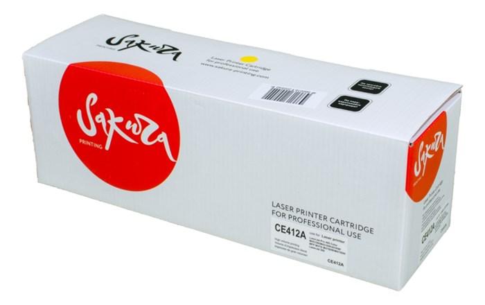 Картридж SAKURA CE412A для HP Laserjet Pro 400 Color M451DN/M451DW/451NW/MFP M475DW/M475DN, Laserjet 300 color MFP M375NW, желтый, 2600 к. - фото 10516