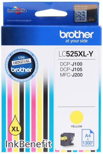 Картридж струйный Brother LC525XLY желтый (1300стр.) для Brother DCP-J100/J105/J200 - фото 10556