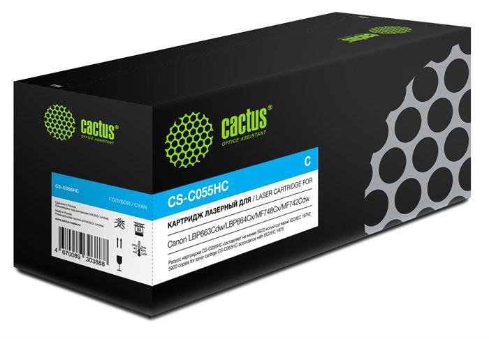 Картридж лазерный Cactus CS-C055HC голубой (5900стр.) для Canon LBP663Cdw/LBP664Cx/MF746Cx/MF742Cdw/MF744Cdw - фото 10825