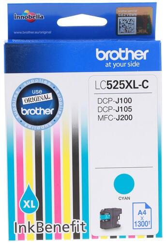 Картридж струйный Brother LC525XLC голубой (1300стр.) для Brother DCP-J100/J105/J200 - фото 9214