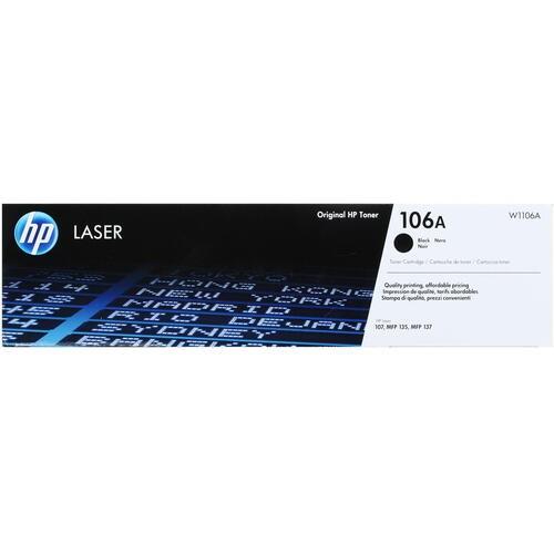 Картридж лазерный HP 106  W1106A черный (1000стр.) для HP Laser 107/MFP 135/137 (оригинальный) - фото 9245