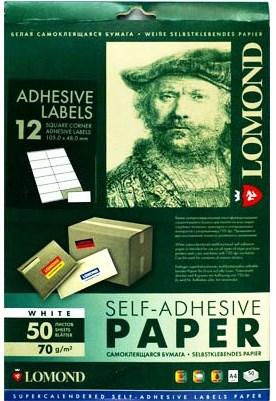 Этикетки Lomond 2100065 105x48мм A4 70гр/м2 на лист.12эт. самоклеющаяся универсальная (упак.:50л) - фото 9320
