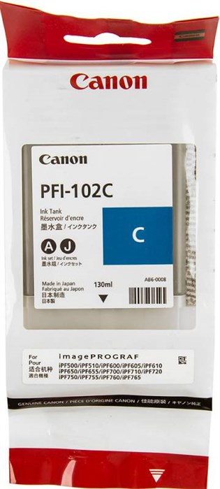Картридж для плоттера Canon IPF500/600/700 PFI-102C голубой - фото 9645