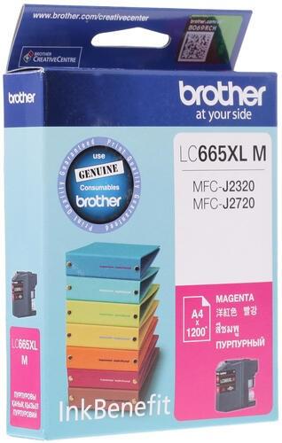 Картридж струйный Brother LC665XLM пурпурный (1200стр.) для Brother MFC-J2320/J2720 - фото 9709