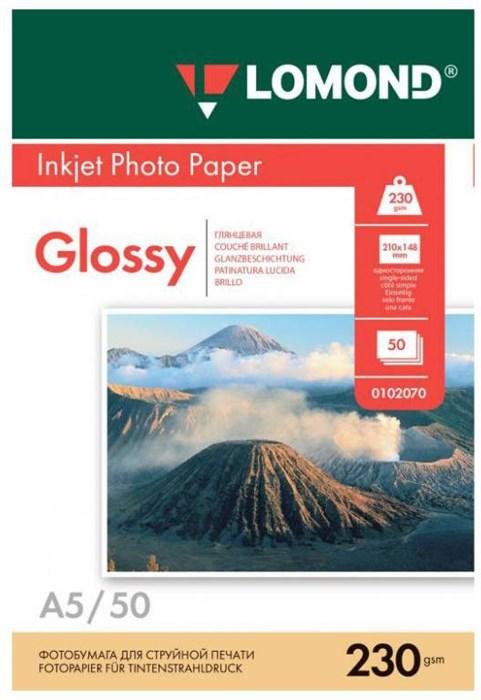 Фотобумага Lomond 0102070 A5/230г/м2/50л./белый глянцевое для струйной печати - фото 9785